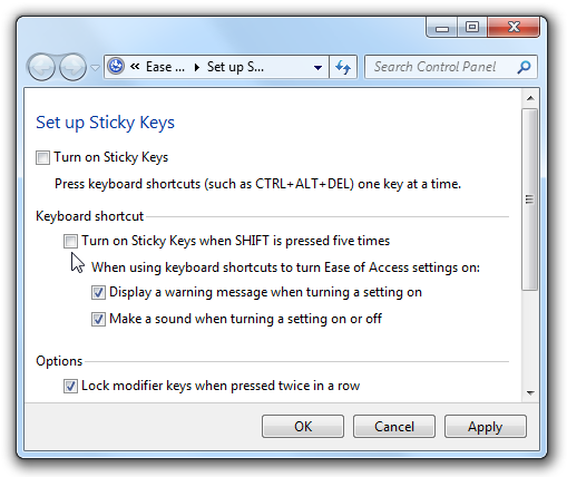 Disable Sticky Keys