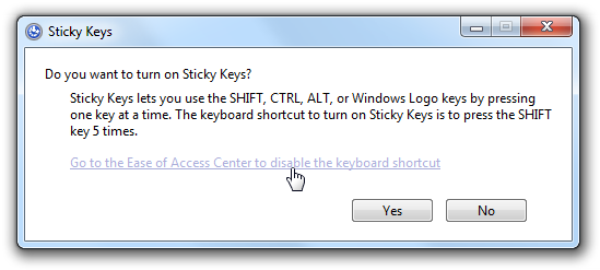 Annoying Sticky Keys Dialog
