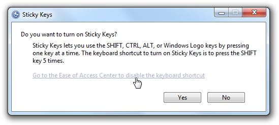 Annoying Sticky Keys Dialog
