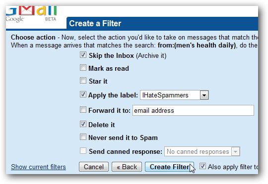 Create a Filter, step 2