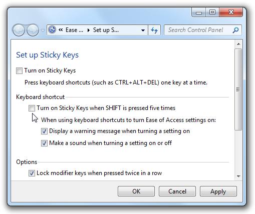 Disable Sticky Keys