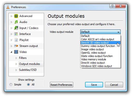 VLC Output modules