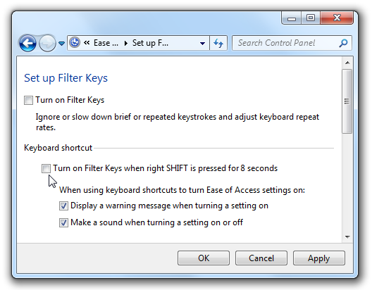 Disable Filter Keys