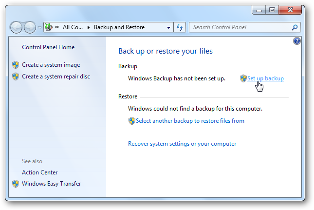 SetBackup Windows 7: BackUp and Restore