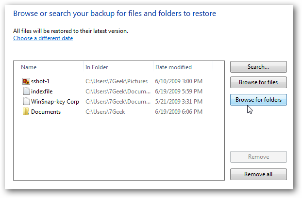 chooserestore Windows 7: BackUp and Restore