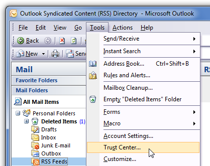 Outlook Menu