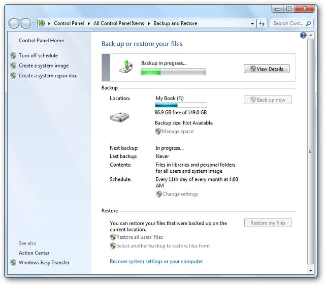 inprogress Windows 7: BackUp and Restore