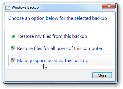 managemenu Windows 7: BackUp and Restore