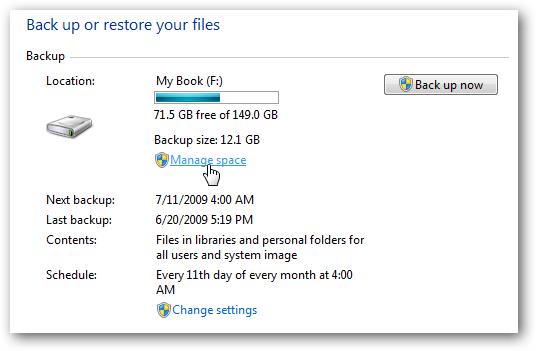 mgsizelink Windows 7: BackUp and Restore