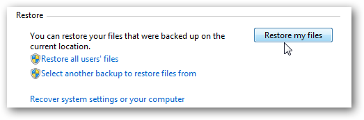 rest Windows 7: BackUp and Restore