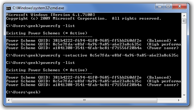 powercfg Command Prompt