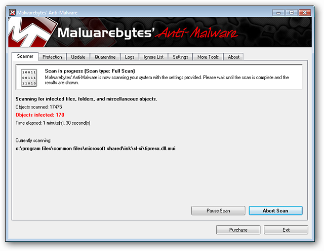 Malwarebytes Anti Malware Scanner Scanning in Progress