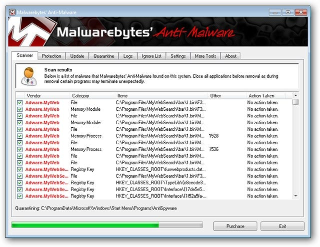 As with other functions in Malwarebytes' Anti-Malware, this part of the