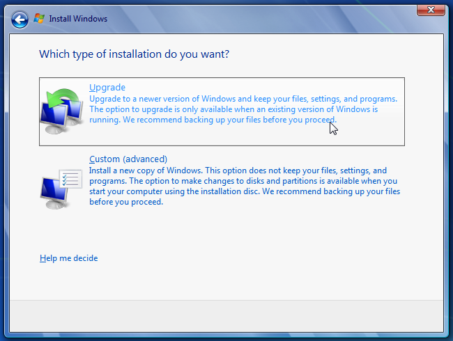Windows 7 choose upgrade type