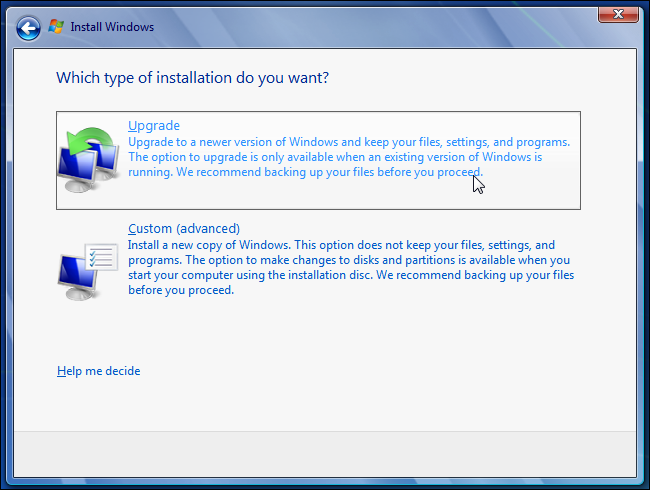 Windows 7 choose upgrade type