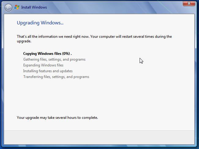 Windows 7 is upgrading just fine