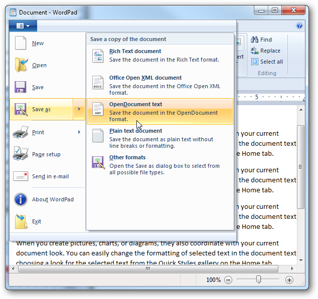 how to use wordpad in windows 7