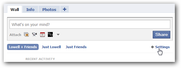 Facebook Wall Settings