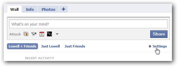 Facebook Wall Settings