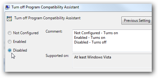 Windows Program Compatibility mode is on. Turn it off and ...