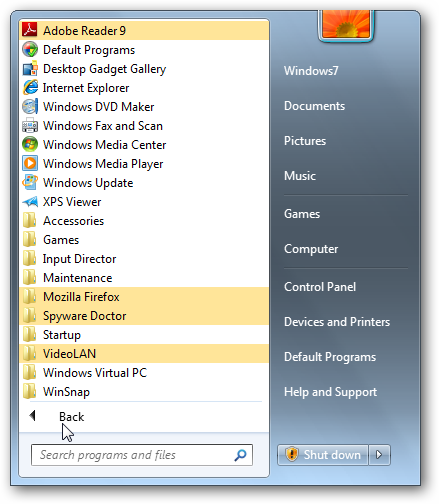 Quick tip disable highlighting new programs in windows 7 for New windows software