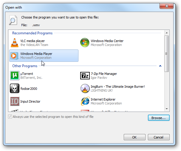 how to get open with media player in right click
