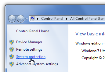 Control Panel System Protection Link