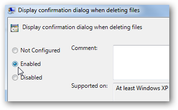 how to change delete confirmation settings in windows 7