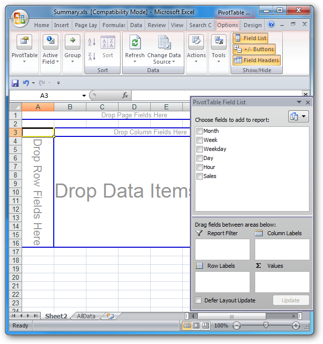 pivot tables excel 2007  How To Create a Pivot Table in Excel 2007