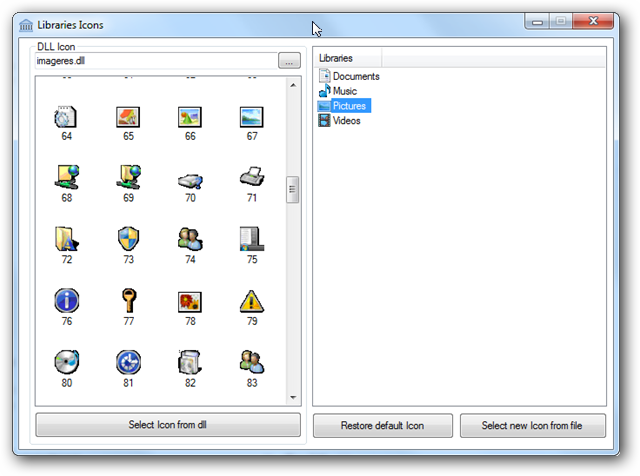 change library icons windows 7