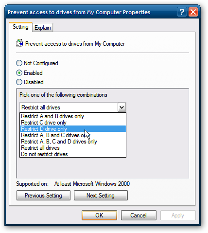 How To Restrict Access To Drives In My Computer In Windows
