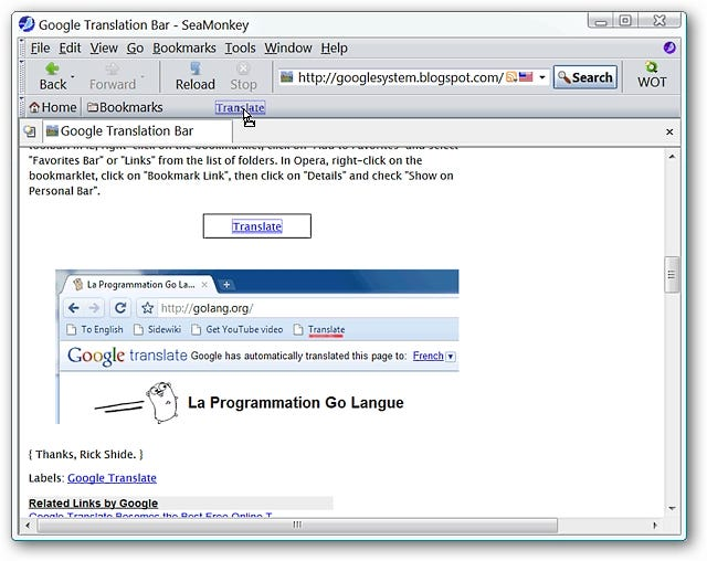 google translator toolbar  windows 7