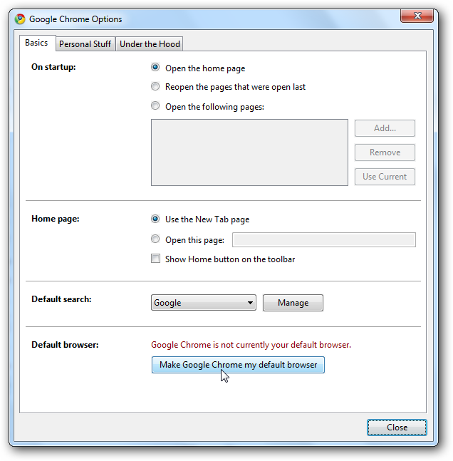 how to make google default on chrome