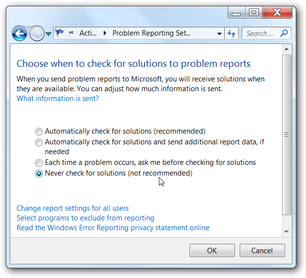 "Disable the ""Check Online for a Solution"" Dialog (Error Reporting"
