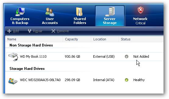 Add an External Hard Drive to Your Windows Home Server