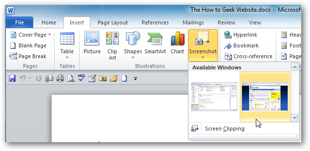 How To Take Screenshots With Word 2010