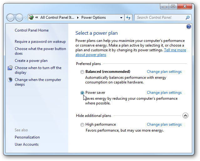 Windows  Home Advanced Power Options
