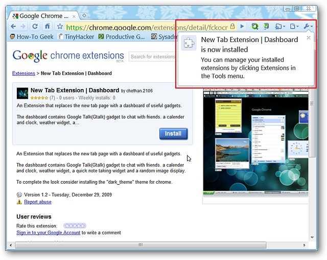 Add an iGoogle-Style New Tab Page to Chrome