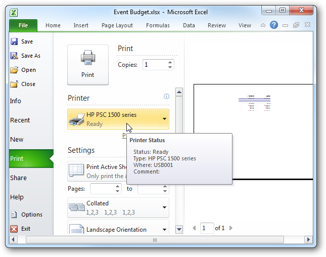 Print Only Selected Areas of a Spreadsheet in Excel 2007 & 2010
