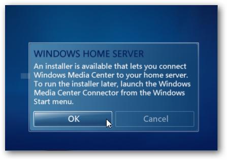 Setup Windows Media Center Connector to Windows Home Server