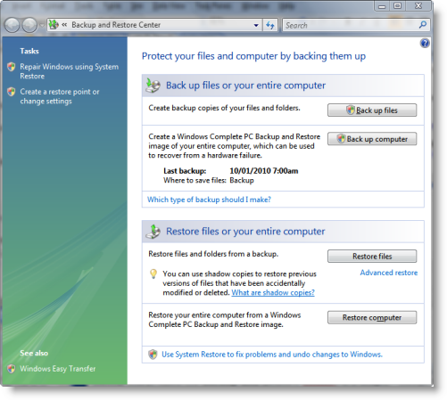 Vista Backup and Restore Center