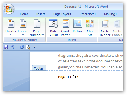 How do you get page numbers in the newer 2007 version of Microsoft Word?