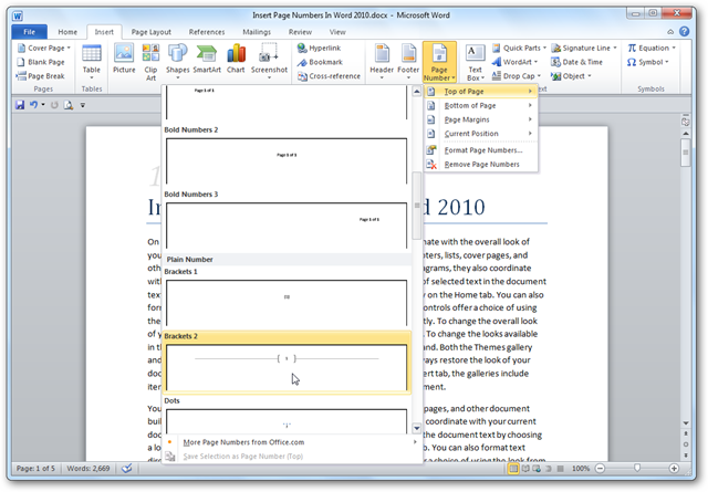 how to set page numbers in word 2007