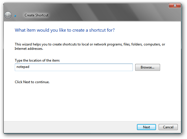 Create shortcut - step 1