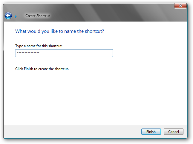 Create shortcut - step 2