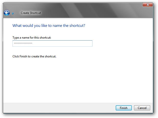 Create shortcut - step 2