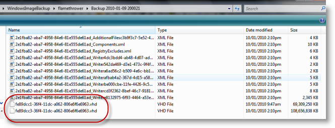Backed-up VHD files