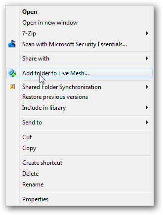 mesh - add folder in Windows