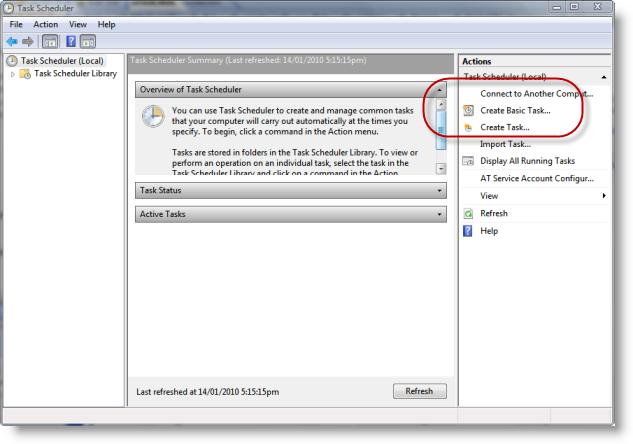 Windows Vista Task Scheduler