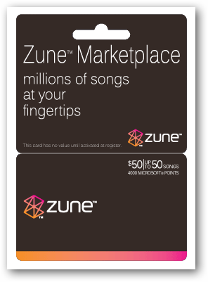 Redeem Pre-paid Zune Card Points for Zune Marketplace Media